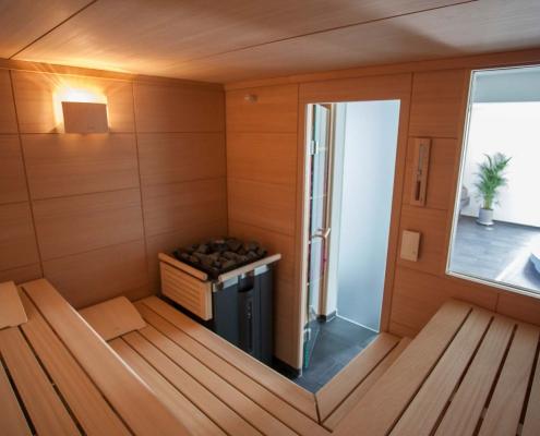Ausblick aus der Sauna im Seminarhotel in den Schwarzwald
